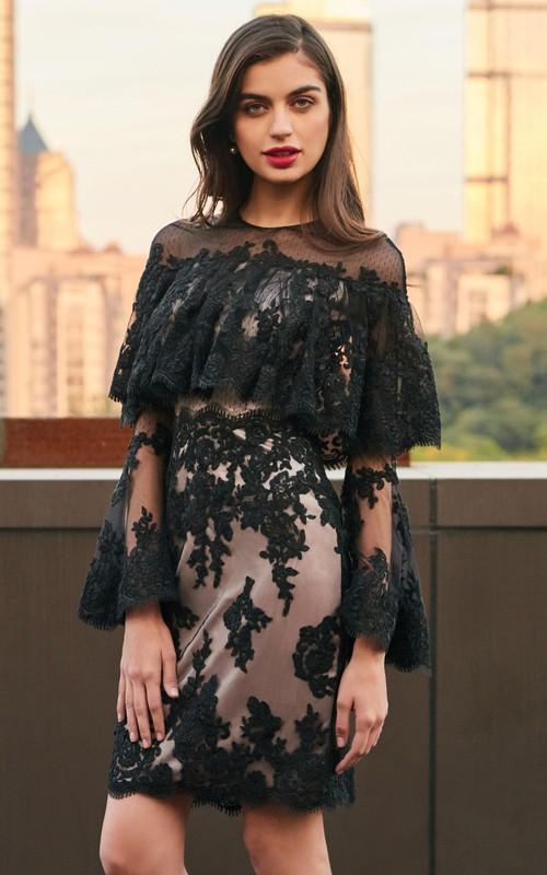 Elegant Lace and Tulle Sheath Jewel Neck Long Sleeve Short Dress