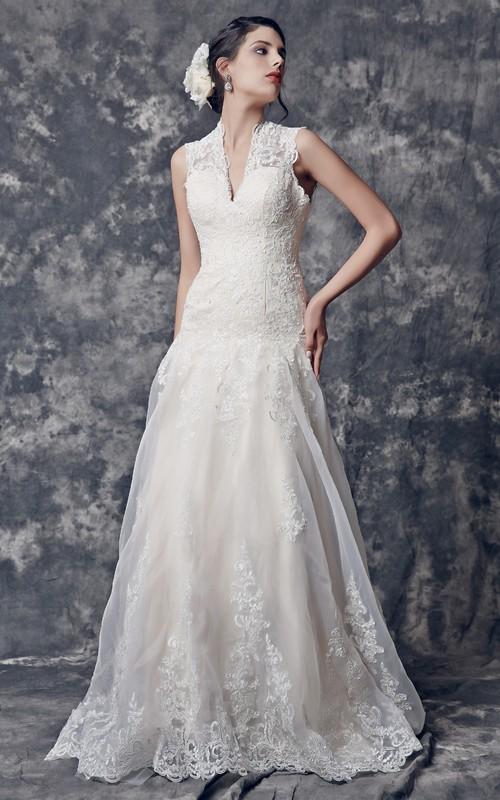 Long Keyhole Cap-Sleeve Glamorous Bridal Dress