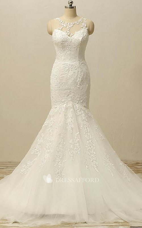 Jacket Tulle Long Mermaid Lace Keyhole Gown