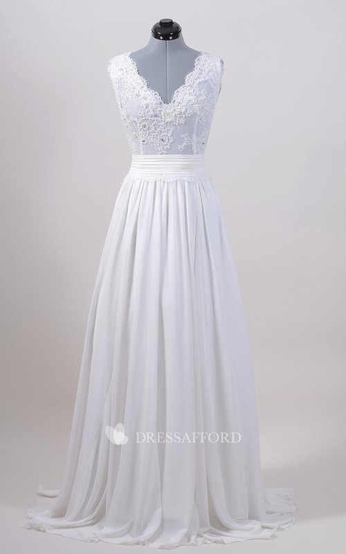 Lace Chiffon Skirt. V-Back Sleeveless Gown