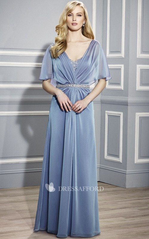 V-neck Poet-sleeve central-ruched Dress With Beading And Jeweled waist