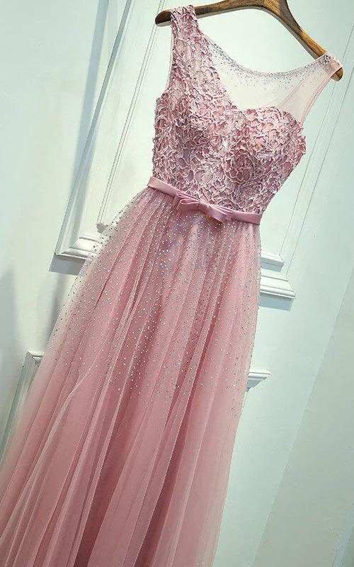 Lace&Organza Dress With Embroideries