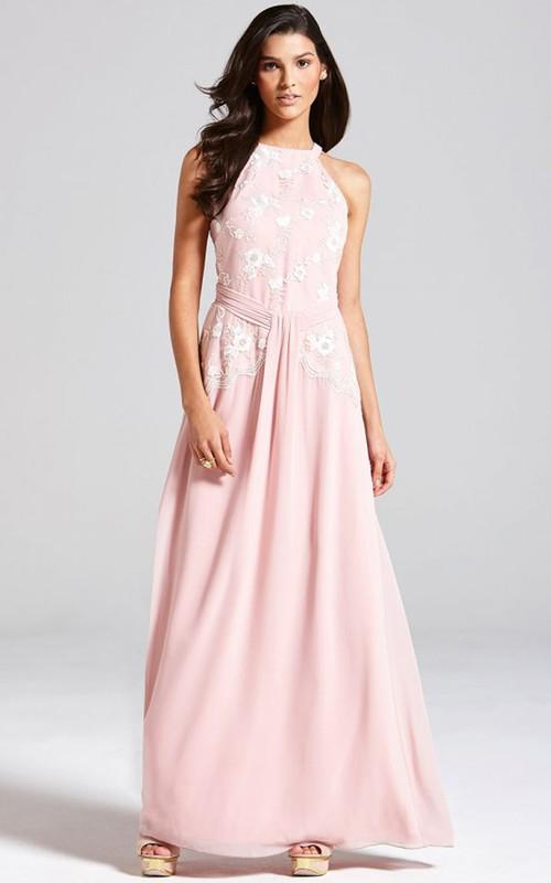 Lace Detail Back Keyhole High-Neckline A-Line Dress