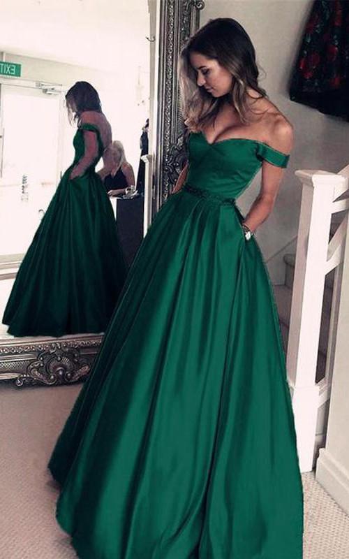 V-neck Satin Short Sleeve Floor-length Pleats Dress