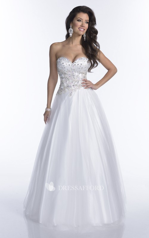 Noble Featuring Rhinestone-Bodice A-Line Sweetheart Tulle Strapless Formal Dress