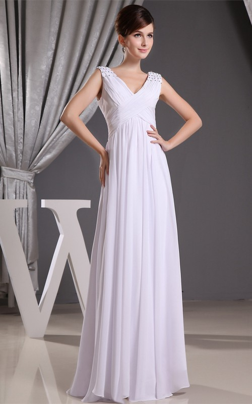 Long Rhinestone High-Waist Caped-Sleeve Plunged Gown