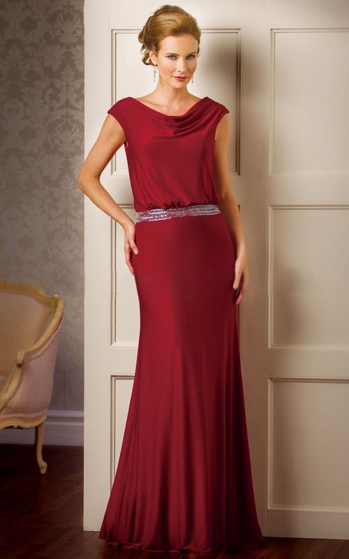Sequined Draping Cap-Sleeved Mother Of The Bride