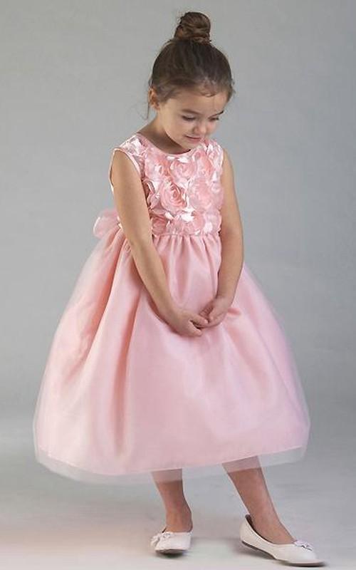 Tulle Tiered Tea-Length Organza Flower Girl Dress