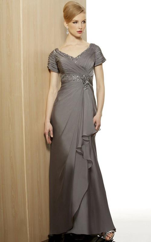 Jersey Draping Criss Cross V-Neckline Cap-Sleeve Dress