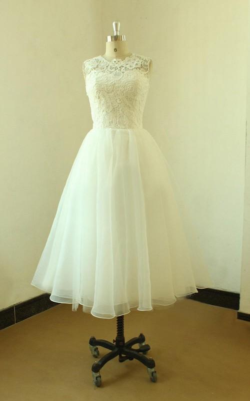 Jewel-Neck Sleeveless A-line Tea-length Wedding Dress With Lace top