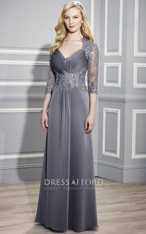 V-neck 3-4-sleeve Ruched Mother of the Bride Dress With Illusion And Appliques