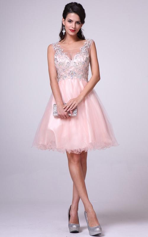 A-Line Illusion Ruffled Jeweled Long Bateau Tulle Sleeveless Satin Dress