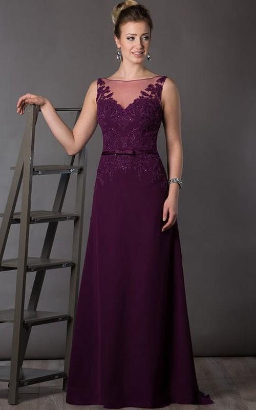 Sleeveless Brush-Train Floor-Length A-Line Deep-V-Back Appliqued Dress