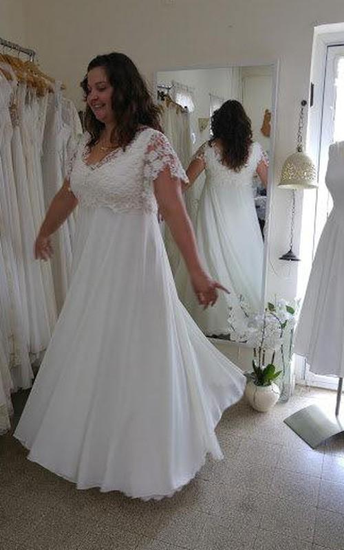 V-Neck Short Sleeve Lace Chiffon Plus Size Wedding Dress