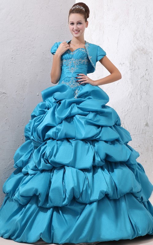 Sweetheart Pick-Up Ruffled Crystal Strapless Sleeveless Princess Ball Gown