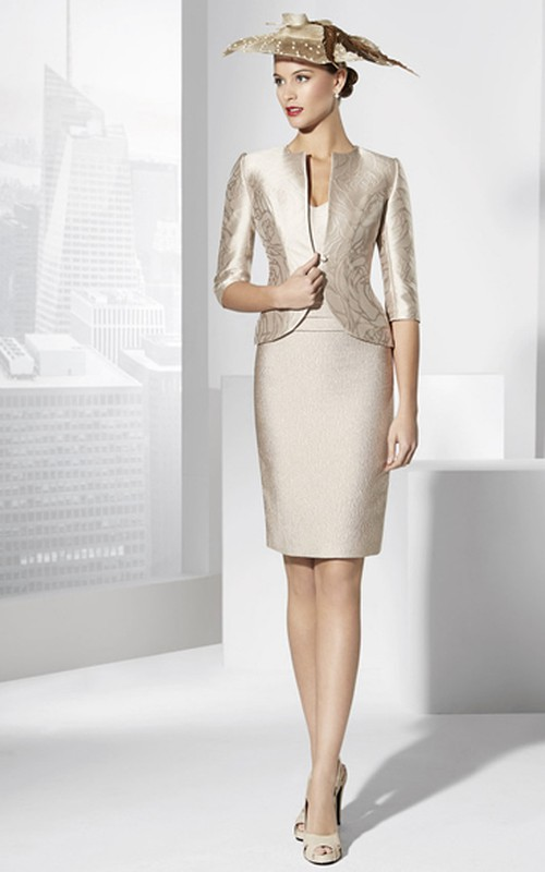 Pencil Knee-length Dress With Cap sleeves And jacket