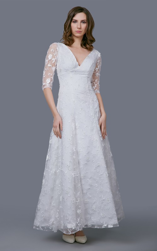 Illusion Sleeve Embroidery V-Neck Stunning Gown