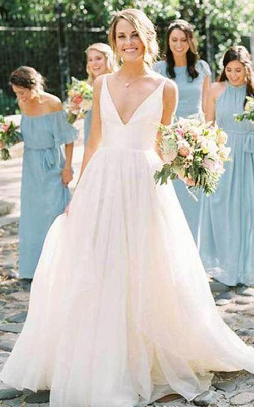 Modern Sleeveless A Line Ball Gown V-neck Tulle Satin Floor-length Wedding Dress