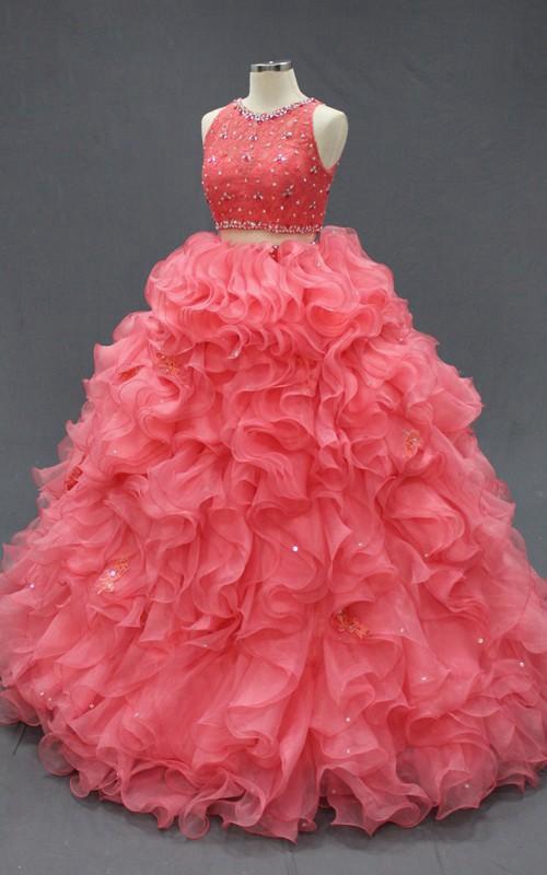 Floor-Length Organza Lace Jeweled Ruffled Corset Zipper Back Dress