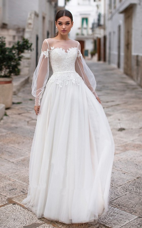 Elegant Tulle Bateau Neck Illusion Long Sleeve Wedding Dress