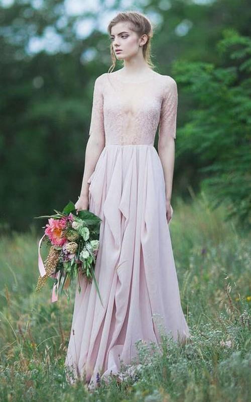 Long Ruffled A-Line Short-Sleeve Chiffon Gown