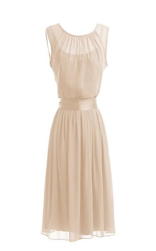 Ribbon Draping Short Sleeveless Dress