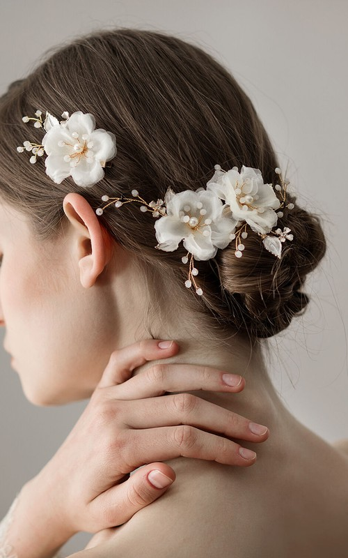 Western Style Tulle Flower Hair Clips with Beads