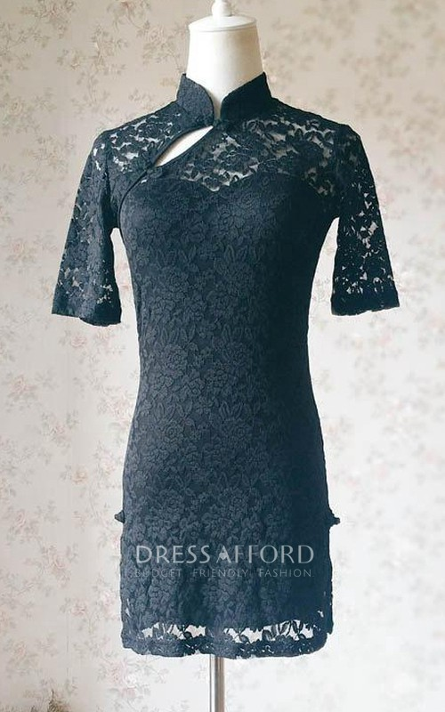 2018 Chines Style Short Black Lace Mini Black Short Black Prom Black Wedding Short Sleeve Custom Summer Dress