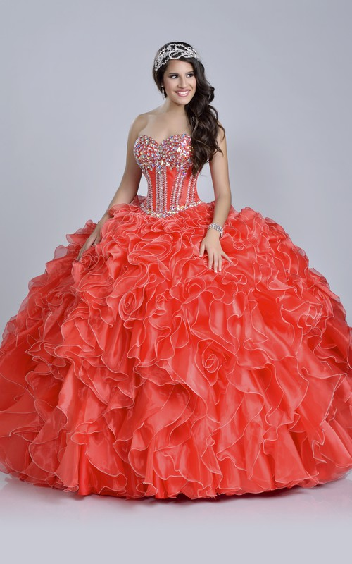 Sequined Ruffled Sweetheart Neck Lace-Up Ball Gown