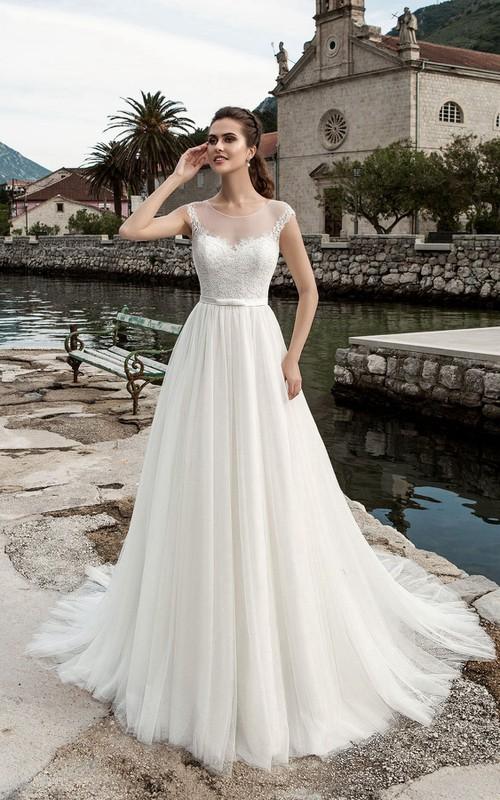 Cap-Sleeve Pleated Floor-Length A-Line Tulle Gown