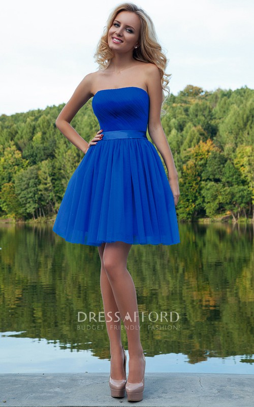 Short Ruched Strapless Tulle Prom Dress With Sash
