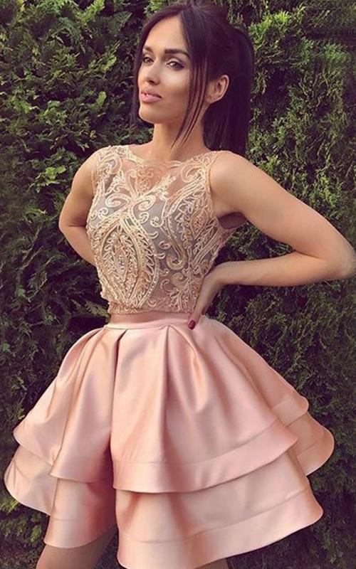 Sleeveless A-line Ball Gown Short Mini Bateau Ruching Ruffles Tiers Satin Lace Homecoming Dress
