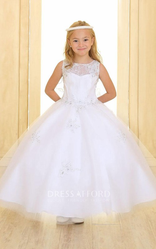 Tulle Illusion Layered Jeweled Lace Flower Girl Dress