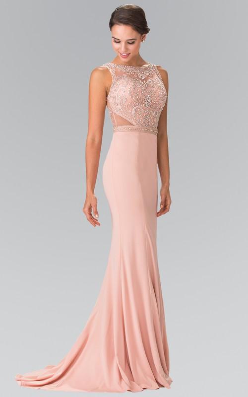 Column Pleated Jeweled Long Bateau Jersey Sleeveless Illusion Dress