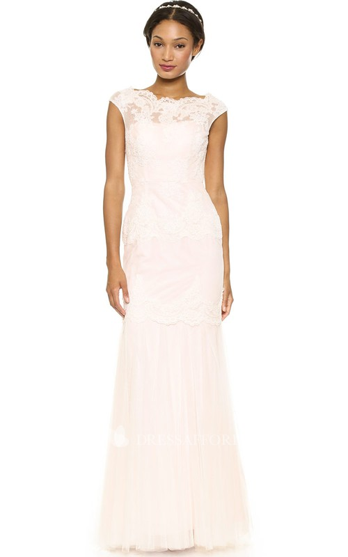 Bateau Cap-sleeve Sheath Tulle Wedding Dress With Appliques