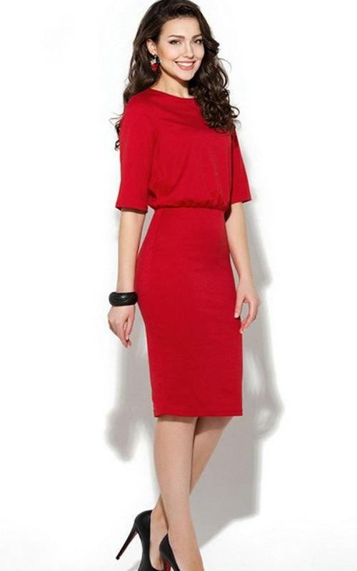 Half Sleeve Chiffon Scoop-neck Knee-length Pencil Dress