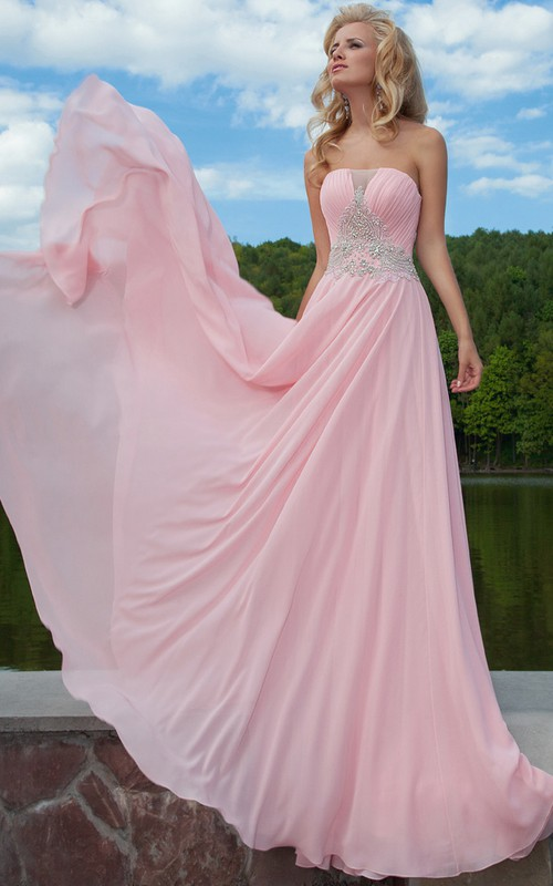 Chiffon Strapless Ruched A-line Dress With Beading