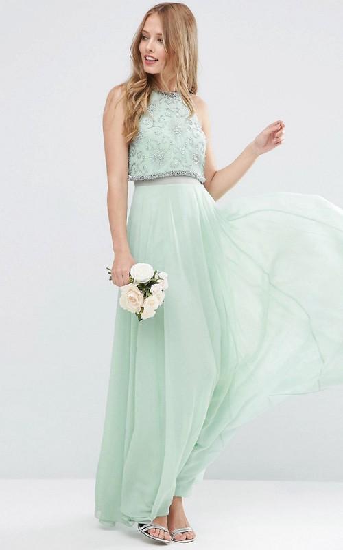 casual Jewel-Neck Sleeveless Chiffon Long Dress With Beading