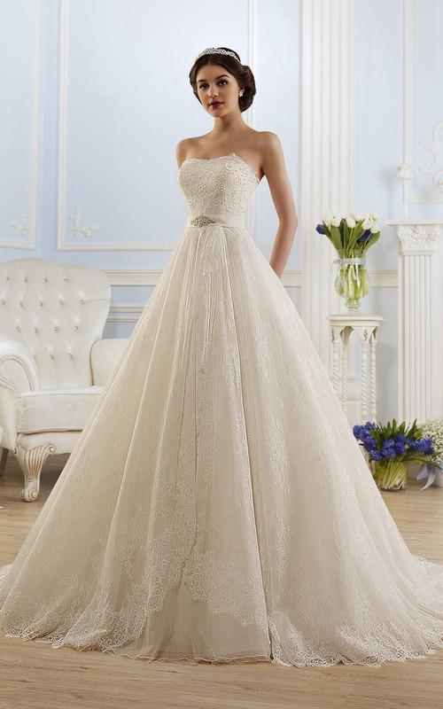 Sleeveless Waist Jewellery Pleats Long A-Line Lace Dress