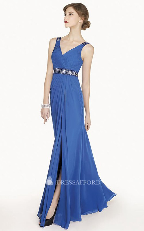 V-neck Sleeveless Front-split Dress With Criss cross And Jeweled waist
