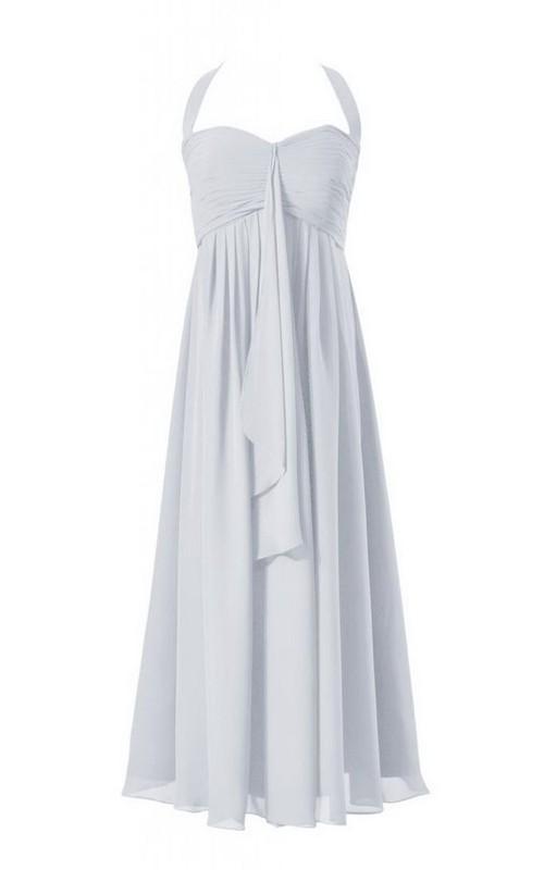 Layered Draped Applique Long Sleeveless Chiffon Gown
