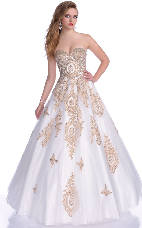 Beautiful Beaded Appliqued Strapless Sweetheart Ball Gown
