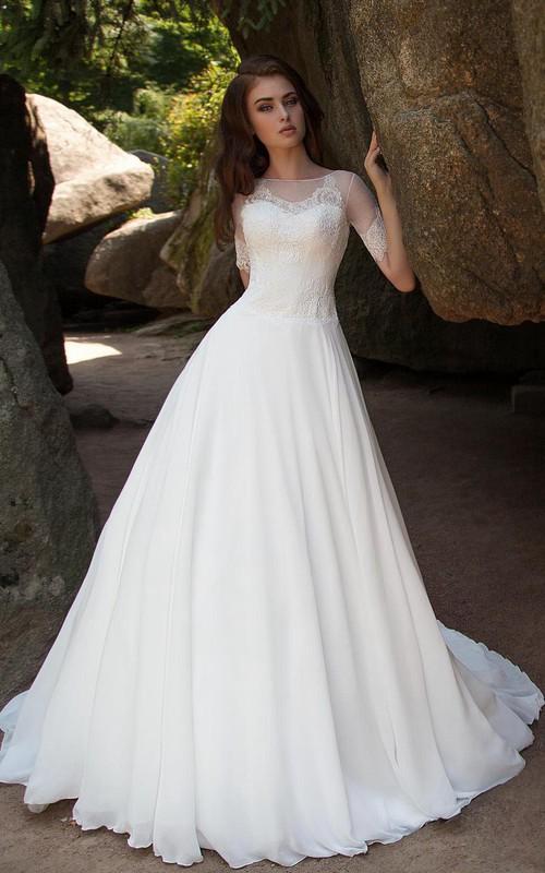 Bateau-Neck Lace Chiffon Ball-Gown Princess Illusion Dress