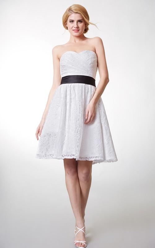 Sweetheart Criss cross Ruched short A-line Bridesmaid Dress