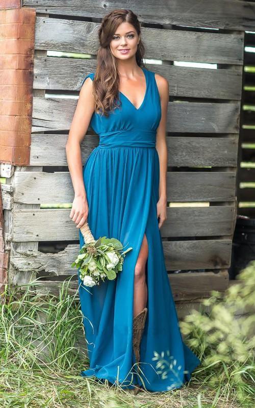 Simple V-neck Sleeveless Empire Waist Bridesmaid Dress