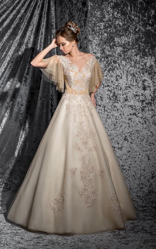 Poet-Sleeve Appliqued Floor-Length A-Line Organza Dress