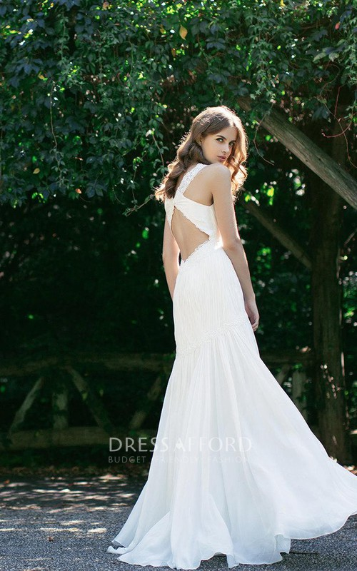 Bridal Ruched Dropped Waist Sleeveless V-Neckline Dress