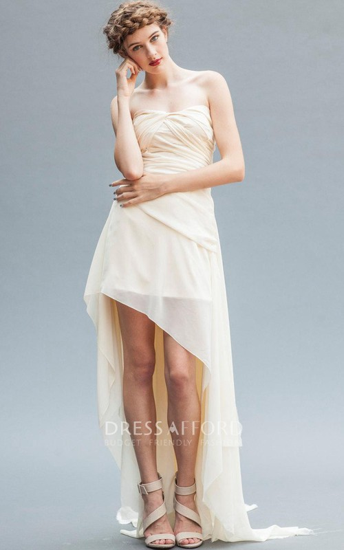 Strapless Chiffon Front-split High-low Dress With Ruching And Sweep Train