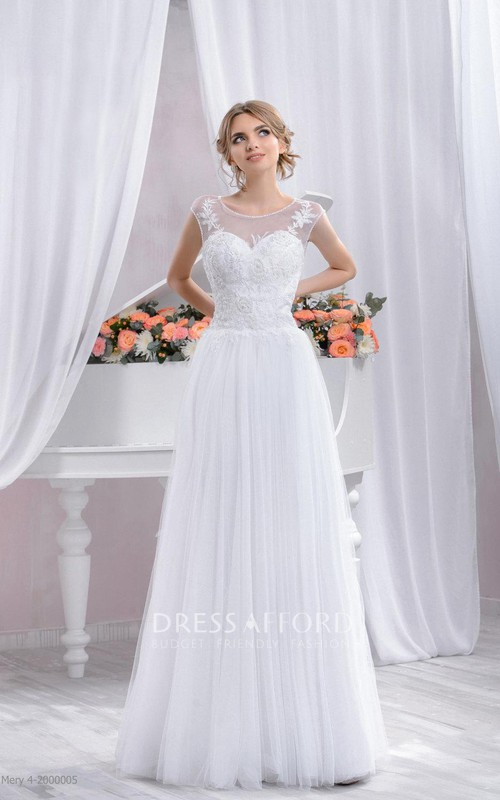 Scoop-neck Cap-sleeve Tulle A-line Dress With Appliques And Illusion