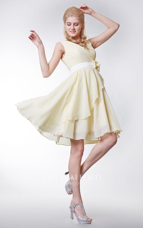 V-neck Empire Chiffon Bridesmaid Dress with Flowers